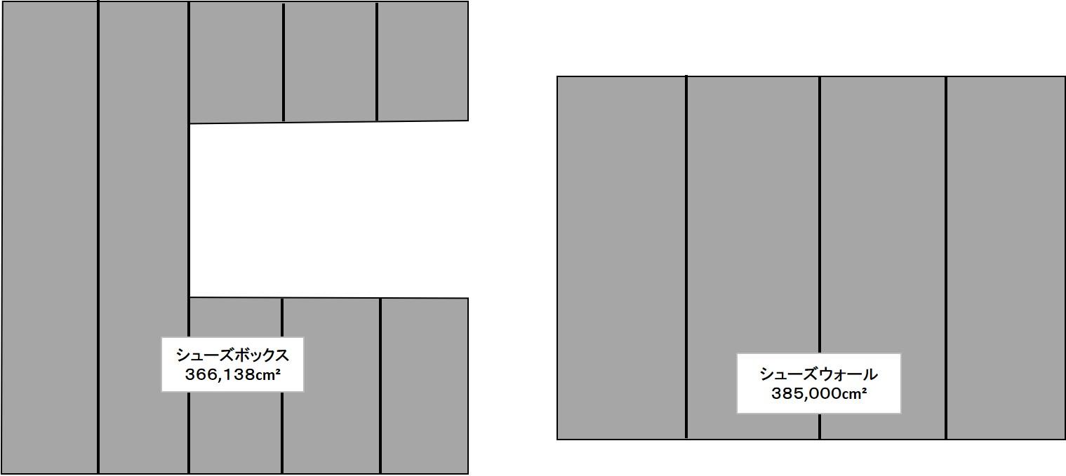 一条工務店シューズボックスとシューズウォールの収納量比較