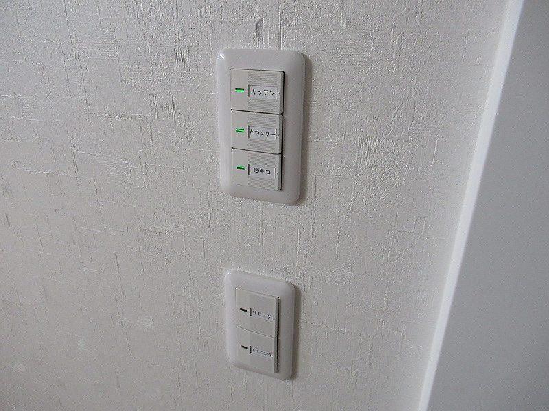 白い壁に付けられた照明スイッチ