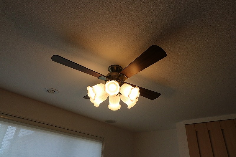 天井に付けられたファンライトが点灯している