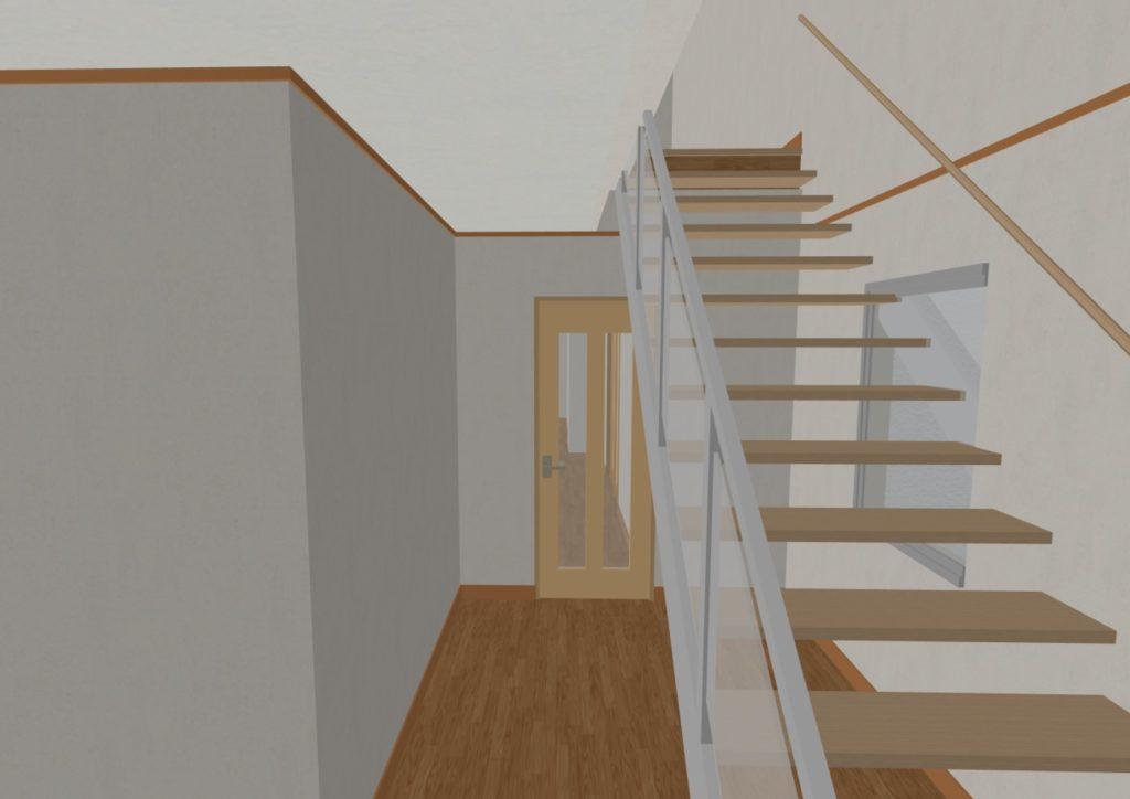 階段の奥に扉