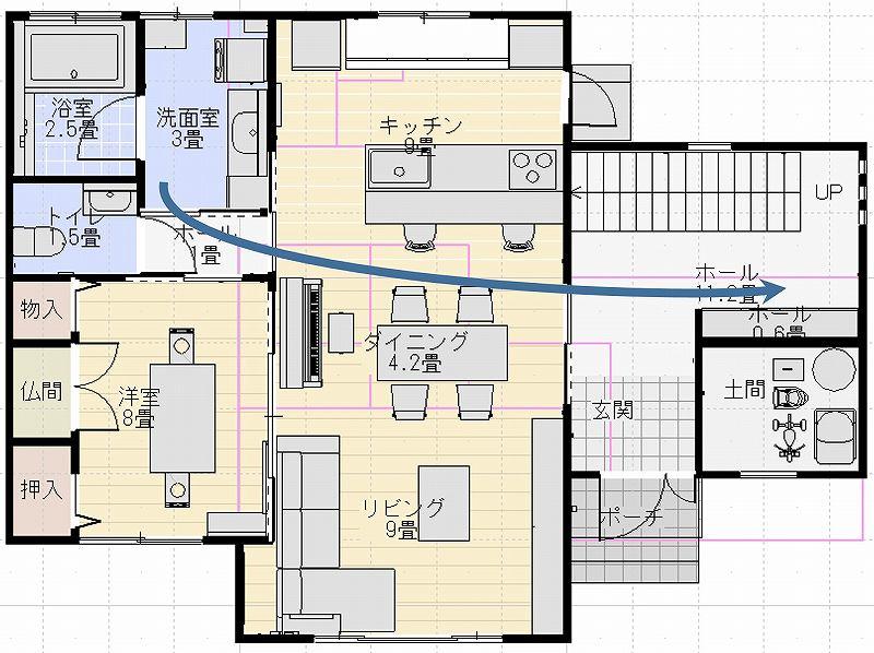 洗面所から二階へ行く動線