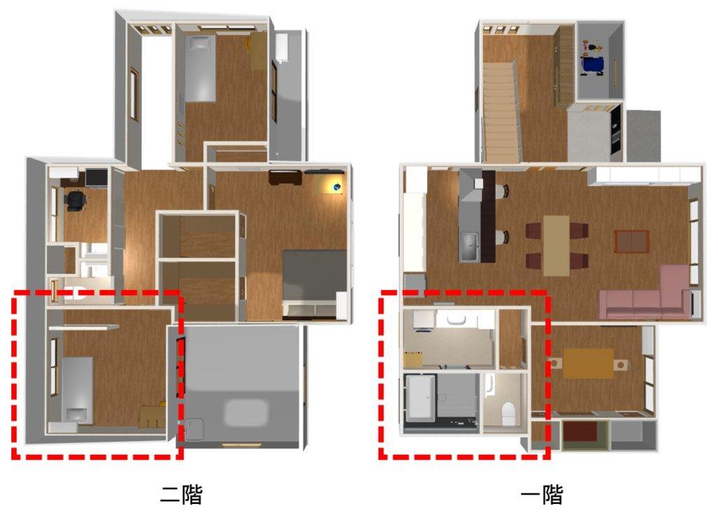浴室やトイレと二階の子供部屋