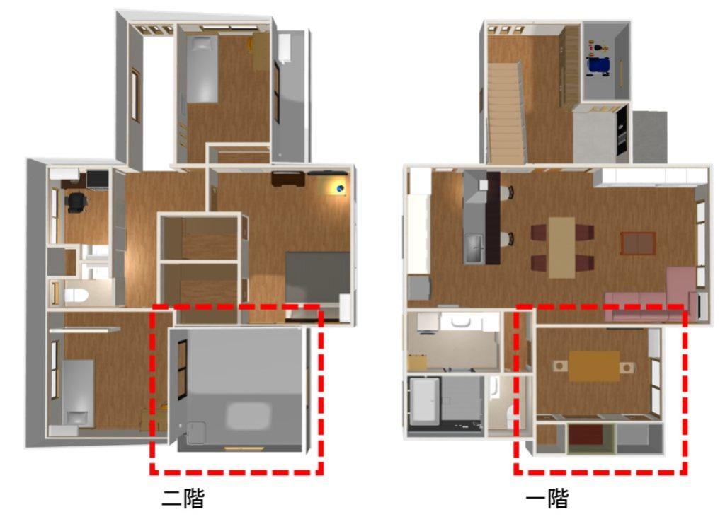 一階の洋室と二階のルーフガーデン