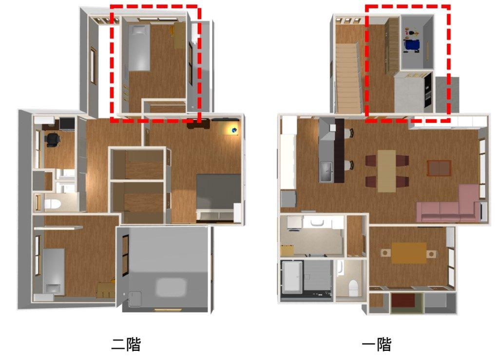 一階の玄関と二階の子供部屋