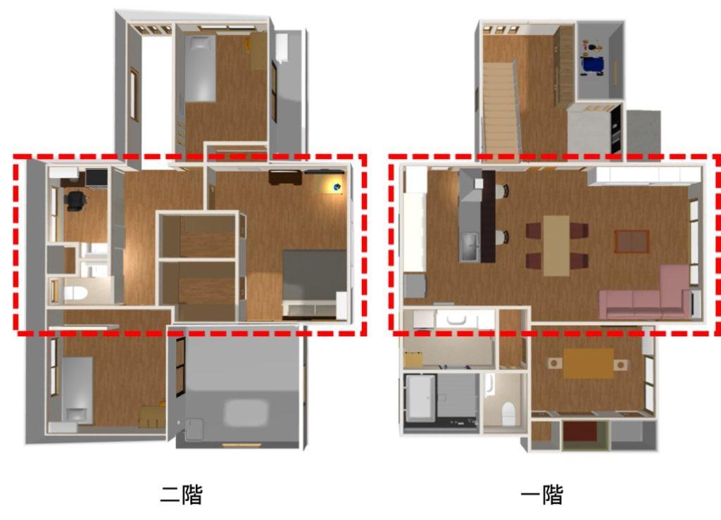 一階のLDKと二階の主寝室など