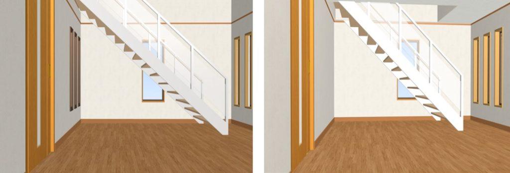 3Dで比較したオープンステアの角度